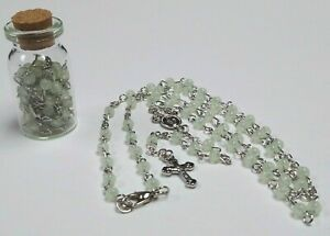 Rosary FullSize MINI Bead Storage Bottle Necklace GLOW IN THE DARK Silver Accent
