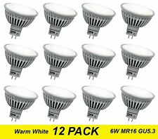 12 x Quality Wide Beam LED Downlight Globes / Bulbs 6W 12V MR16 GU5.3 Warm White