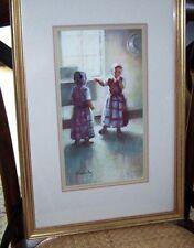 "Original Arlene Hooker Fay Art ""Hutterite Girls"" Framed pastel signed by Artist"