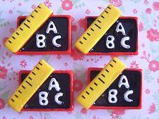 4 x Righello ABC BACK TO SCHOOL Flatback Resina Abbellimento artigianato Cabochon * Regno Unito *