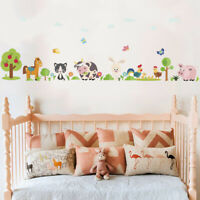 Lovely Animals Farm Wall Stickers Kids Bedroom Cow Horse Pigs Chicken Mural DD