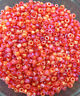 50g glass seed beads - Red Rainbow - approx 3mm (size 8/0)
