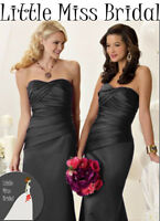 Black Satin Bridesmaid Party Dress Dresses Evening Ball  Prom Formal Wedding