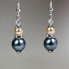 Vintage dark grey yellow pearl silver drop earrings wedding bridesmaid accessory