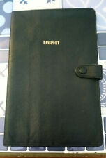 Passport Holder & Travel Document Wallet Black Moroccan Leather Made in England