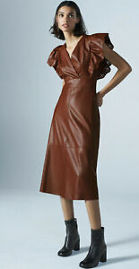 Zara Faux Midi Leather Dress Size Small Brown Maroon RRP£59 Sold Out size S