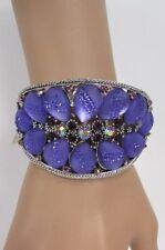 New Women Silver Metal Cuff Bracelet Light Blue Lavender Purple Leaves Drop Bead