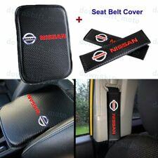 Carbon Fiber Car Center Armrest Cushion Mat Pad + Seat Belt Cover Set For Nissan
