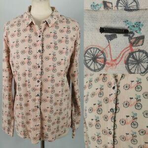 White Stuff Size 12 Light Pink Bike Bicycle Basket Blouse Shirt Top Long Sleeve