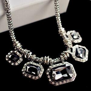 Women Jewelry Retro Fashion Short Chain Necklace Big Gem Hot Pendant Accessories