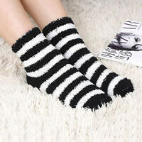 Women Girls Winter Bed Socks Solid Fluffy Warm Soft Thick Home Candy Color EB