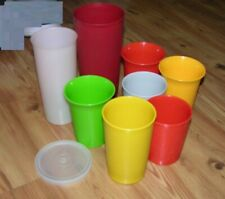 TUPPERWARE Vintage 1970s Lot of 8 STACKING TUMBLERS Glasses Mixed Sizes & 1 Lid