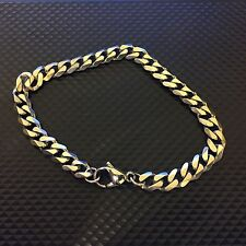 > Curb Chain Bracelet - Sterling Silver Effect Punk Rock Heavy Metal Biker Look