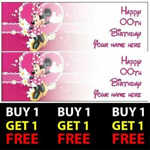 Buy 1 Get 1 Free Minnie Mouse Personalised Birthday Banners 100gsm Party Decor