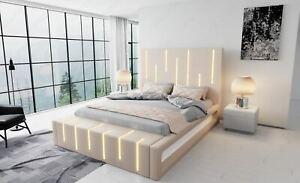 Boxspringbett Design Bett MILONA Ehebett LED Hotel Luxus Lederbett Komplettbett