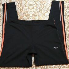 Saucony Omni Mens Size XL Long Running Tights Reflective Black Orange