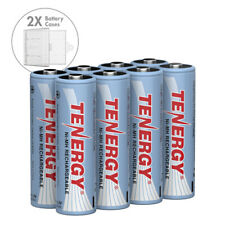 Tenergy Combo 8PCS 1.2V AA 2500mAh NiMH Rechargeable Batteries Cells + 2 Cases