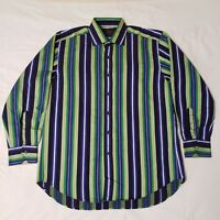 Men's Long Sleeve Polo Shirt by Etro Milano, Button Up, 100% Cotton, Italy, #F3