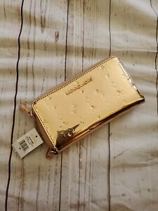 Michael Kors Jet Set Travel Large Phone Case Wristlet Wallet Rose Gold Metallic