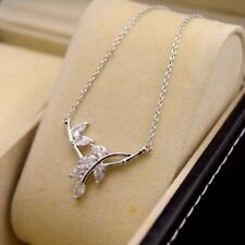 """18K White Gold Filled Pendant Necklace Leaf 18""""chain Charm CZ GF Fashion Jewelry"""