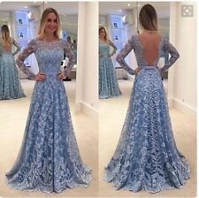 Women Lace Backless Prom Dresses Long Sleeve Evening Cocktail Ball Party Gown