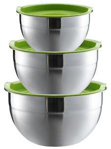 3 Edelstahl Schüssel mit Deckel Rühr Salat Servier Teig Schüsseln Schale Set