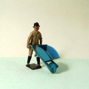Vintage LEAD Farm - Crescent MAN WEARING TRILBY PUSHING WHEELBARROW Britains Era