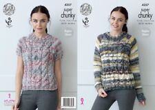 """King Cole Knitting Pattern 4357 Ladies Cabled Raglan Sweater Super Chunky 28-46"""""""