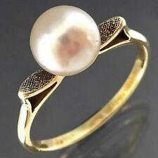Vintage 1960's Original Solid 9k Yellow GOLD MIKIMOTO PEARL SOLITAIRE RING Sz Q