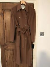 Jaeger Wool And Cashmere Coat Size 18 Tie Waist Brown Tan Button Up