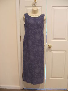NWT casual corner $79 BLUE PRINT FULLY LINED  long maxi sleeveless dress size 4