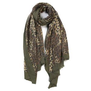 Ladies Leopard Print Woolly Soft Scarf Shawl Wrap