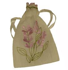 10 New Lavender Embroidered Sheer Organza Weave Drawstring Ribbon Lavender Bags