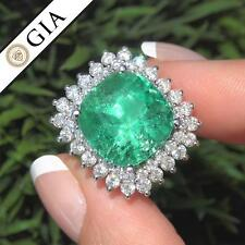 GIA Certified Green Emerald Diamond Cocktail Ring 14k Gold F1 Clarity 13.46 TCW