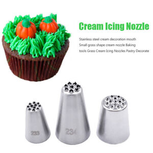 3Pcs Stainless Steel Grass Cake Decorating  Tip Piping Pastry Icing Nozzles UK