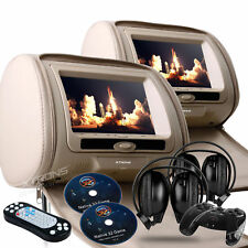 "Zone Tech 2x 7"" Car - Headrest DVD Player Radio TV Monitor Headphones Beige LCD"