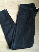 Next Ladies Black Coated Denim Skinny Trousers Jeans Bnwt Size 12 Regular