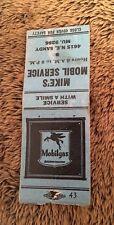 Vintage Matchbook Cover Matchcover Mike's Mobil Service Mobilgas  No Striker