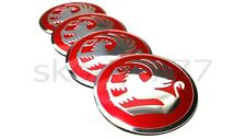 SET OF 4x 56mm Red Vaukhall Wheel Alloy Center Cap Curve Badge STICKERS
