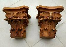 Pair Corinthian Column Carved Wood Capitals