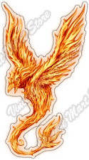 "Phoenix Mythical Bird Fire Flames Flying Car Bumper Vinyl Sticker Decal 3""X6"""
