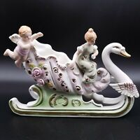 Andrea Sadek Bisque Porcelain Swan Cherub Sleigh Planter Figurine Occupied Japan