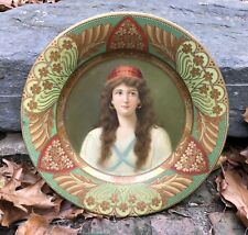 Beautiful Antique Art Nouveau Tin Litho Plate Green & Gold Stylized Flowers