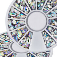 1 Wheel Clear Nail Art Flat Back Oval AB Color Rhinestone Gems Crystal 3D Decor