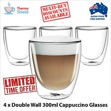 4 x Cappuccino Glasses Glass Double Wall Dual Coffee Thermo Shield Cup Mug Heat