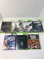 Xbox 360 Lot Of 7 Games - Assassins Creed, Skyrim, COD Ghosts, Aerosmith