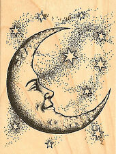 Crescent Moon & Stars Wood Mounted Rubber Stamp by INKADINKADO 95194 New