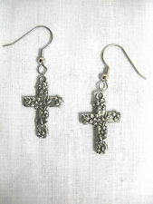 NEW FLOWERS & VINES FLORAL CROSS DOUBLE SIDED PEWTER CHARMS DANGLING EARRINGS