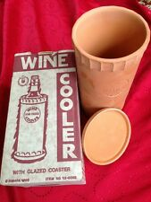 Vintage Wine Vino Fresco Clay Cooler with Coaster Made In Italy Pottery
