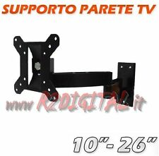 "SUPPORTO PARETE ORIENTABILE 10"" a 26"" TV MONITOR LCD LED 3D PLASMA TELEVISORE"